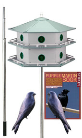 Heath 12 Room Deluxe Two-Story Purple Martin House with Pole, 2 Decoys and Stokes Book