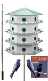 Heath 24 Room Deluxe Two-Story Purple Martin House with Pole, 2 Decoys and Stokes Book