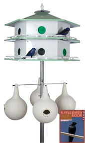 Heath 12 Room Deluxe Two-Story Purple Martin House with 4 Gourds, Pole Kit , 2 Decoys and Stokes Book