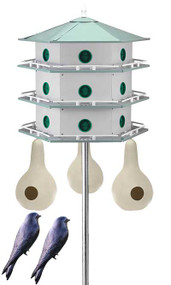 Heath 18 Room Deluxe Two-Story Purple Martin House with Pole, 3 Gourds and 2 Decoys