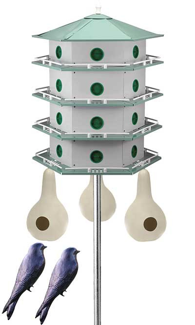 Heath 24 Room Deluxe Two-Story Purple Martin House with Pole, 3 Gourds and 2 Decoys