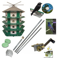 NATURE HOUSE TRIO CASTLE PURPLE MARTIN BIRD HOUSE 24 ROOM COMPLETE SAFETY SYSTEM BONUS KIT