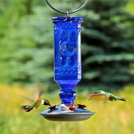 Perky Pet Cobalt Blue Antique Glass Bottle Hummingbird Feeder 8117-2