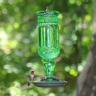 Perky Pet Green Antique Glass 24 oz Bottle Hummingbird Feeder 8120-2