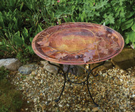 Ancient Graffiti Oval Branch Flamed Standing Bird Bath AG17044