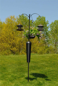 : Squirrel Stopper Olympic/ Shenandoah    Use With:    •Hanging bird feeders, wind chimes, hanging plants, birdhouses and other yard or garden accent pieces •Please install the pole system 10 feet from poles or walls to prevent squirrels from jumping onto feeders.  •The Shenandoah/Olympic is made by the same company that makes the Squirrel Stopper Deluxe Pole System!            Baffle    Squirrel Stopper Baffle   The secret is in the baffle! Our Squirrel Stopper Baffle features an all metal design and uses our patented spring technology so the baffle is able to move up and down and side to side when squirrels try to climb it! It is proven to stop squirrels from ground attacks. The Squirrel Stopper Baffle works best when used placed at least 10 feet from any trees, walls, overhangs, or anything a squirrel may use to jump from!               Threaded Joints       Auger       Installation       Threaded Joints   Our threaded joints will securely connect your pole segments together without fear of rough weather detaching them. The secure connection is perfect for keeping your bird feeders, houses, and more where they are supposed to be instead of on the ground.     Attached Auger   The attached auger calls for easy installation! The auger will drive the pole into the ground so it will stay right where you put it! The auger will work with any soil type. Depending on the type of soil, some loosening might need to be done to help guide the auger.     Easy Installation  Squirrel Stopper Olympic Bird Feeder Pole and Baffle With 3 Hangers Holds 3 Bird Feeders  The auger and twist rod make for easy installation. Just slide the twist rod into the holes near the top of the lower pole and begin to turn the pole clockwise into the ground.