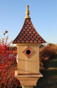 Good Directions Lazy Hill Farm Mango Bird House Mango Wood Copper Shingled Roof