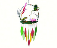 Gift Essentials Frogs and Cattails Wind Chime GEBLUEG503