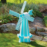 Amish Made 41 inch Poly Wood Windmill In Aruba Blue and White Working Garden Weathervane (POLYWAW41)