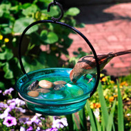 Couronne Co Aqua Cuban Bowl Hanging Birdbath and Bird Feeder COURM33720009