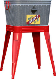 Panacea Products - Rustic Washtub Beverage Stand With Bottle Opener