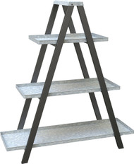 Panacea Products-Vintage Ladder A-frame Stand W/ Galv Shelves