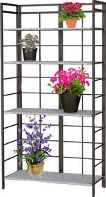 Panacea Products - Vintage Bakers Rack Stand W/ Dj Galv Shelves