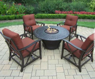 Oakland Living Charleston Aluminum Gas Fire Pit Table and Chairs OAA2749