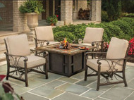 Oakland Living Goldie's Spring Rocking Deep Seating Chairs Propane Gas Fire Pit Table OAA3023