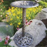 Oakland Living Antique Pewter Hummingbird Birdbath OAA1240