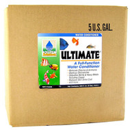 "Hikari Ultimate  Pond Solutions Full Function Pond Water Conditioner  5 Gallons 72339 This is the world's first full-function water conditioner. With everything you need in one bottle to maintain a superior environment for your aquatic pets. For new setups Ultimate® instantly ""ages"" water allowing you to enjoy your pets in action quicker without fear of the negative impact of toxic chloramine, ammonia, chlorine, heavy metals or nitrite."