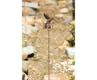 Ancient Graffiti Hummingbird Flamed Garden Stake with Bell