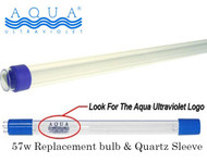 Aqua Ultraviolter UV 57 Watt Replacement Bulb and Quartz Sleeve