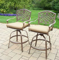 "Oakland Living Mississippi 27"" Patio Bar Stool with Cushion (Set of 2) OAA2516"