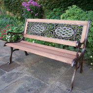 Oakland Living Mississippi Wood and Cast Iron Park Bench 2001-AB