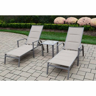 Oakland Living 3 Piece Padded Sling Chaise Lounge Set
