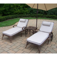 Oakland Living Mississippi 3-Piece Chaise Lounge Set with Cushions