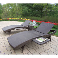 Oakland Living Elite Resin Wicker Outdoor Patio 3-Piece Chaise Lounge Set