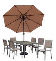 Oakland Living Padded Sling Outdoor Patio 9 Piece Dining Set with Umbrella