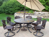 Oakland Living Tuscany Stone Art Outdoor Patio Dining Set with Umbrella