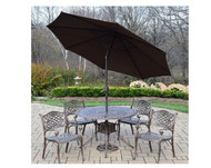 Oakland Living Capitol 7 Piece Dining Set with Umbrella(2 Color Options)