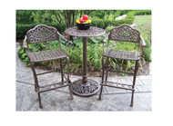 Oakland Living Mississippi 3 Piece Bar Height Outdoor Patio Dining Set