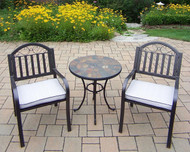 Oakland Living Stone Art Rochester 3 Piece Outdoor Patio Bistro Set