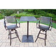 Oakland Living Rose 3 Piece Bar Height Outdoor Patio Dining Set