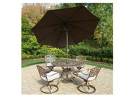 Oakland Living Mississippi 5 Piece Dining Set with Oakmeal Cushions and Umbrella (2 Color Options)