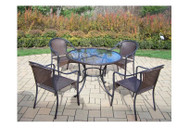 Oakland Living Elite Resin Wicker 5 Piece Outdoor Dining Set