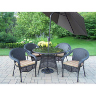 Oakland Living 7-Piece Wicker Outdoor Dining Set with Green Striped Cushions and Brown Umbrella