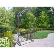 Oakland Living Outdoor Steel Arbor with Gate and Base