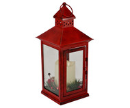 Mark Feldstein Holiday Berry and Pine Ring Red 13.5 LED Lantern