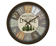 Reflective Art Welcome to the Lodge 15 inch Decorative Clock RAI 29305