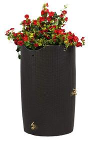 Impressions Bali 50-Gallon Rain Saver Barrel with Planter Top in Dark Brown