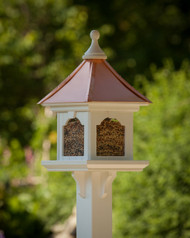 Estate Post Mount Copper Roof Bird Feeder -Large Capacity