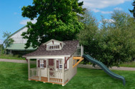 Little Cottage Company Craftsman Playhouse with Deck, Loft and Slide