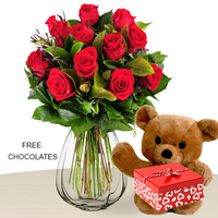 12 Red Roses, Vase and Teddy, FREE Chocolates,