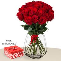 24 Red Roses In Vase FREE Chocolates