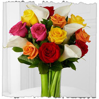 12 Mixed Roses And Calla Lily Bunch