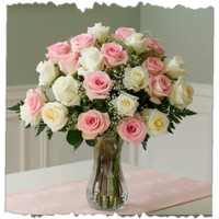 Pink And White Rose Bunch 12