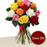 12 Mixed Roses In A Bunch