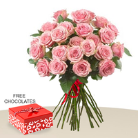 24 Pink Roses In A Bunch With Free Chocolates