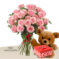 24 Pink Roses In A Bunch With Teddy And FREE Chocolates